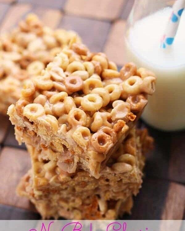No Bake Peanut Butter Cheerio Bars ~ Ooey, Gooey, Peanut Buttery Bars stuffed with Peanut Butter Cheerios! So Delicious and So Easy!
