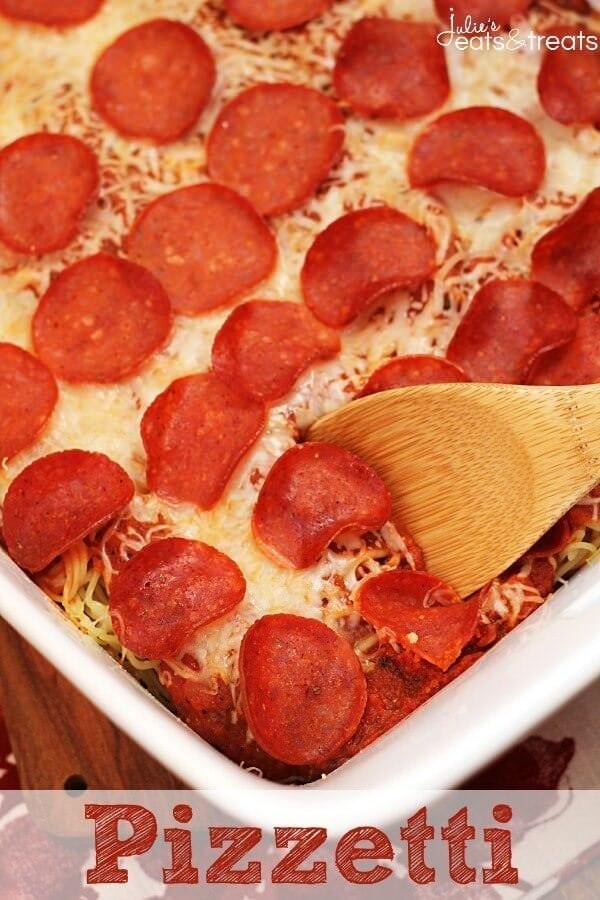 Pizzetti ~ It's Pizza, It's Spaghetti, It's Pizzetti! Yummy Casserole Loaded with Pasta, Cheese and Pepperoni!