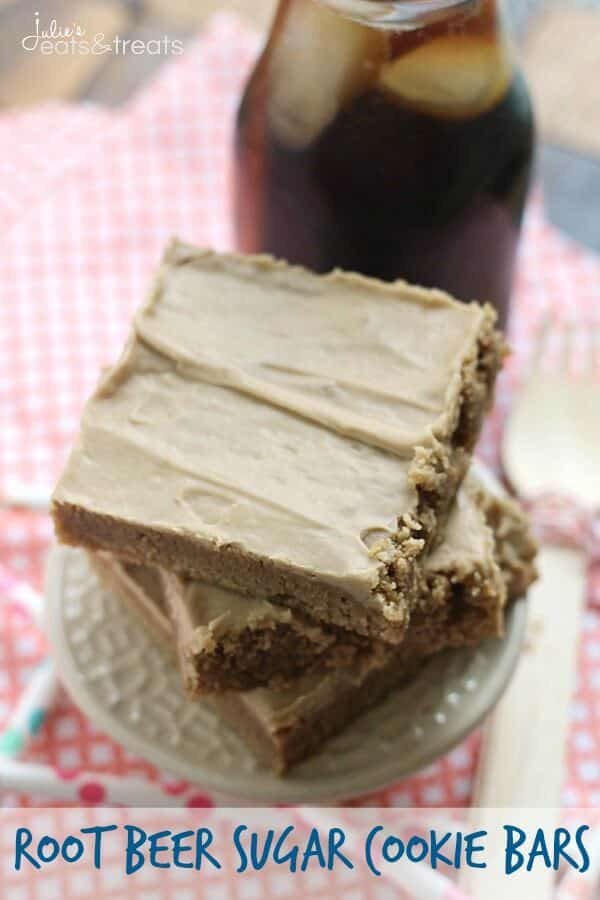 Root Beer Sugar Cookie Bars ~ Soft, Chewy Sugar Cookie Bars that Taste Like a Root Beer Barrel!