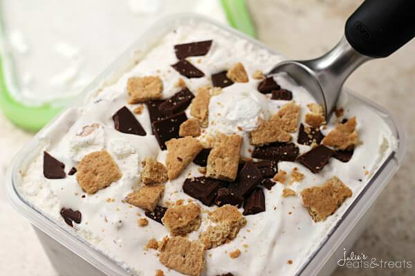 S'mores Ice Cream ~ Easy, Cream Ice Cream Stuffed with Chocolate, Marshmallow & Graham Crackers!