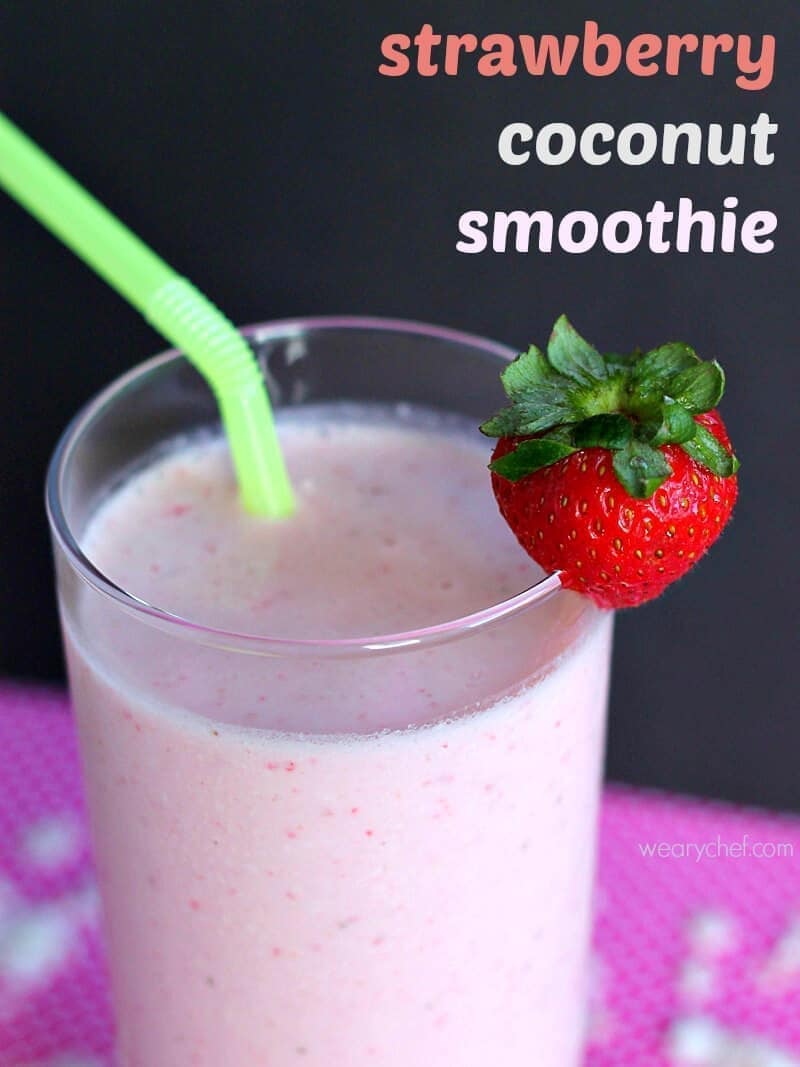 Strawberry Coconut Smoothie ~ Quench your thirst for a milkshake with this lower sugar Strawberry Coconut Smoothie!