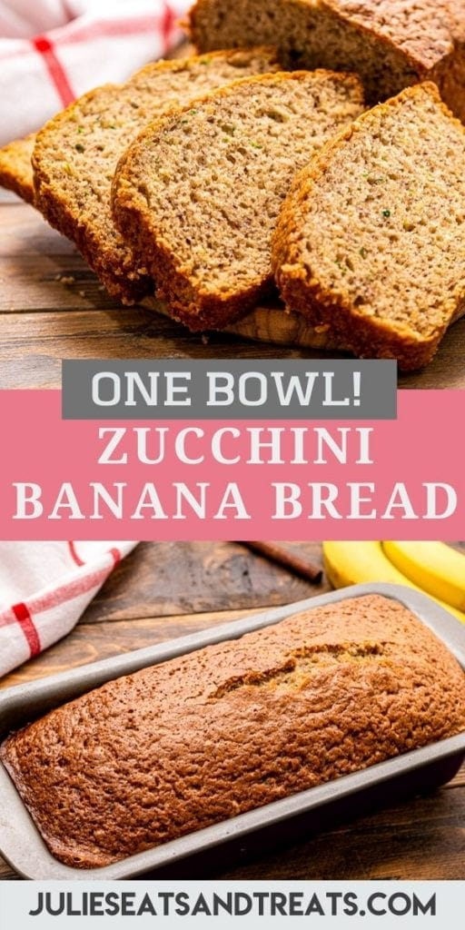 Pinterest image for Zucchini Banana bread with the top image being slices of bread, text overlay of recipe name in middle and bottom image of a loaf in a pan.