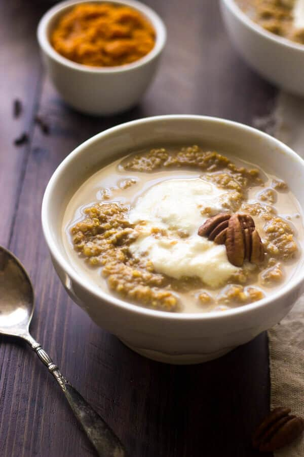 Pumpkin Breakfast Quinoa with Maple Ricotta - Your new favorite, healthy breakfast! | Julieseatsandtreats.com | #glutenfree #quinoa #recipe