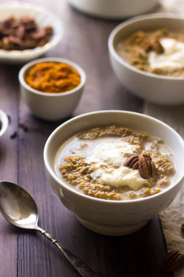 Pumpkin Breakfast Quinoa with Ricotta ~ Mixed with pumpkin and creamy, maple whipped ricotta for a quick, easy and gluten free breakfast! Click for the recipe!