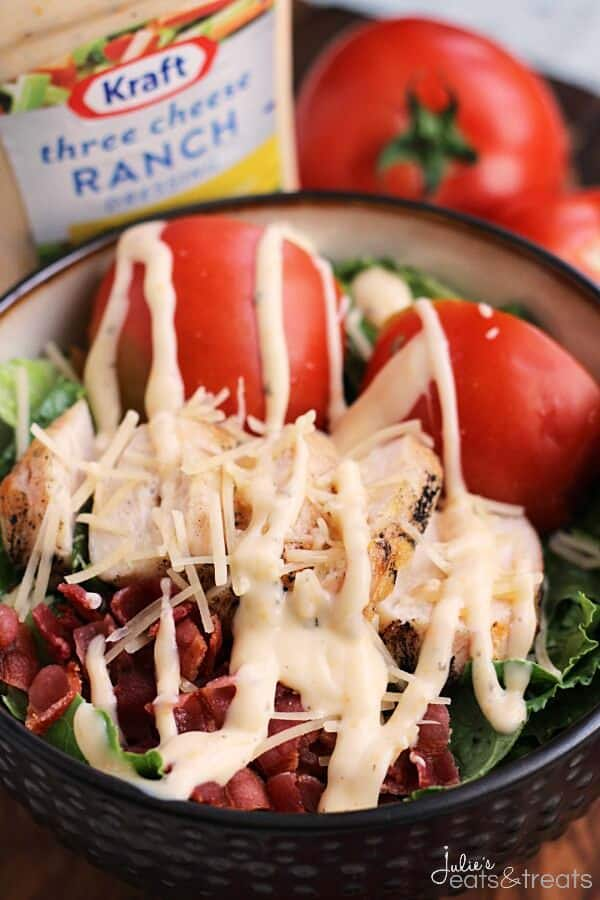 Chicken BLT Salad ~ Easy Salad Loaded with Romaine, Bacon, Grilled Chicken Tomatoes, Parmesan and Three Cheese Ranch Dressing!