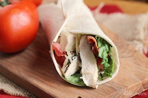 Chicken BLT Wrap ~ Easy Wrap Perfect for Lunch or Dinner! Loaded with Grilled Chicken, Romaine Lettuce, Bacon and Mayo!