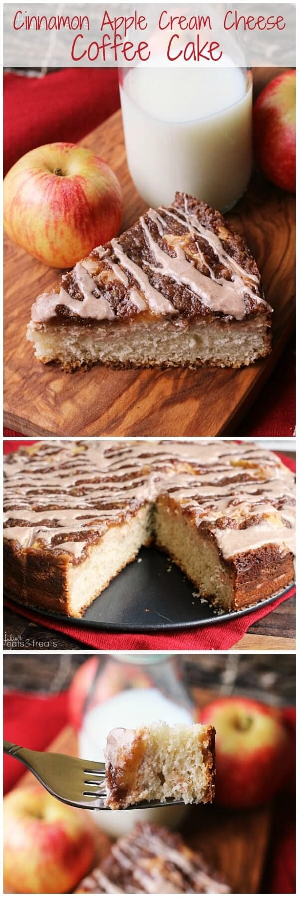 Cinnamon Apple Cream Cheese Coffee Cake ~ Amazing Coffee Cake Topped with Cream Cheese, Apples, Crumb Topping and Cinnamon Glaze!