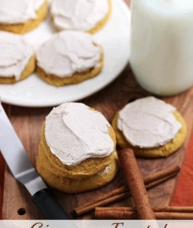 Cinnamon Frosted Pumpkin Cookies ~ Soft, Chewy Pumpkin Cookies Topped with Light and Fluffy Cinnamon Frosting!