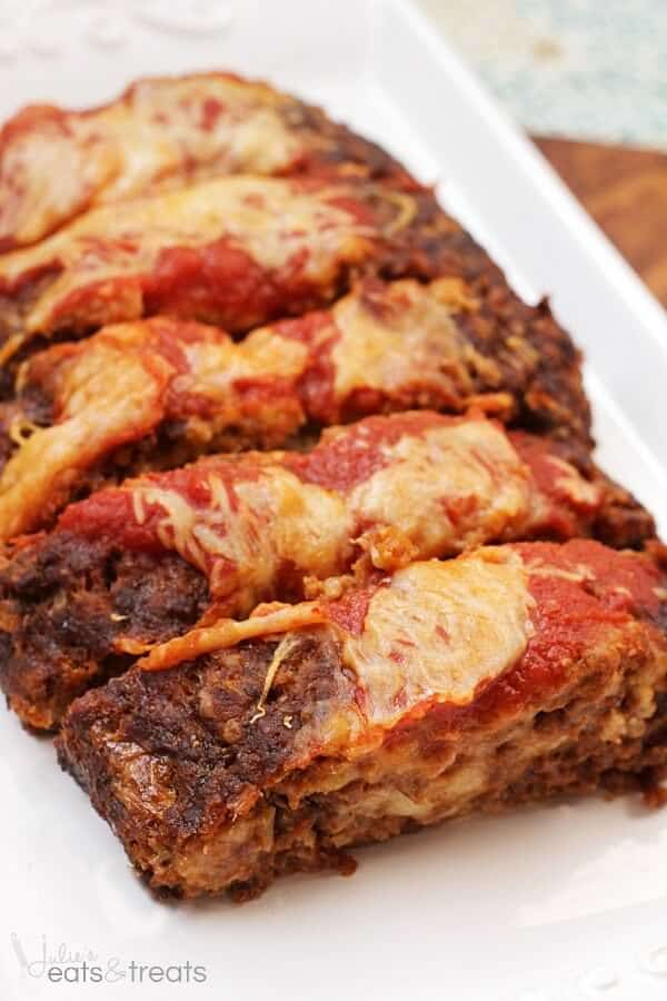 Italian Cheese Stuffed Meatloaf ~ Homemade Meatloaf Stuffed with Mozzarella Cheese!