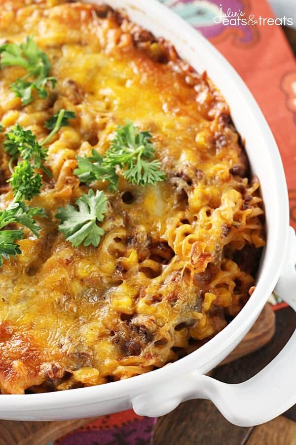 Mexican Pasta Casserole ~ Easy Casserole Loaded with Pasta, Beef, Salsa, Corn and Mexican Cheese!
