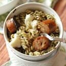 Pesto Pasta with Sausage & Ricotta ~ A simple pasta loaded with pesto, chicken sausage and ricotta cheese! Only 4 Ingredients to deliciousness!