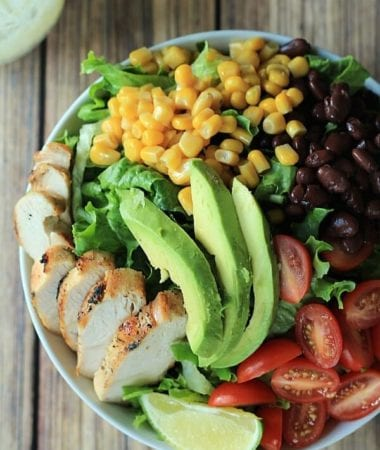Southwestern Chicken Chopped Salad with a Creamy Poblano Lime Ranch Dressing