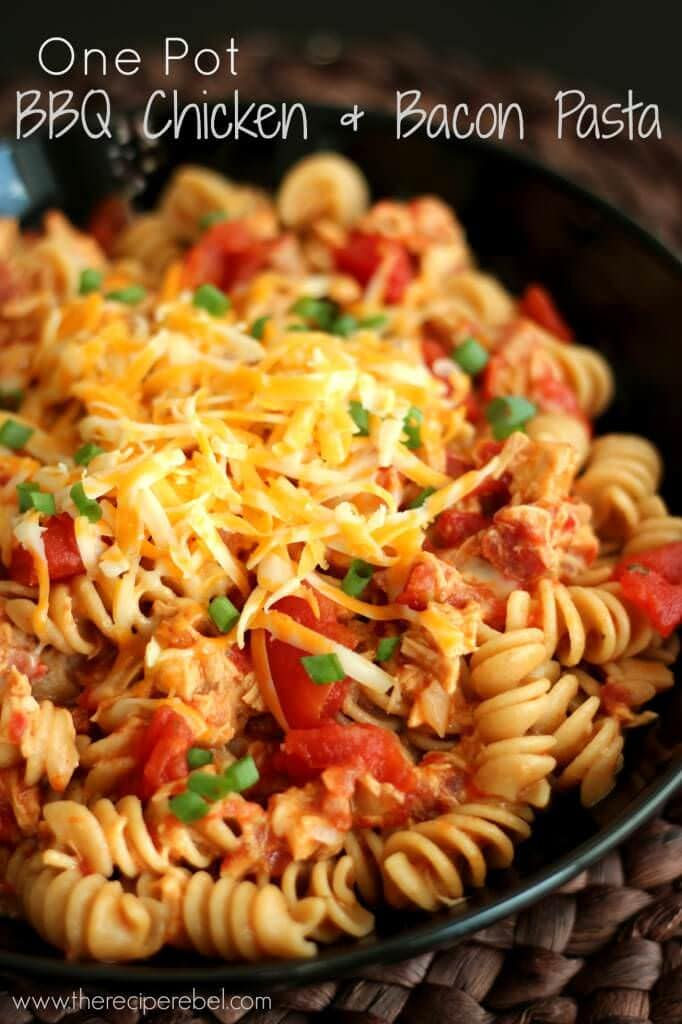 BBQ Chicken and Bacon Pasta | www.thereciperebel.com
