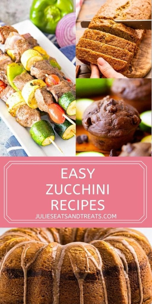 Pin Image for Zucchini Recipes with three images on top of recipes, text overlay in a pink rectangle and then another image of zucchini bundt cake below.