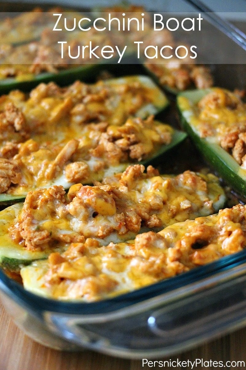 Low calorie, low carb, low fat but high flavor Zucchini Boat Turkey Tacos   Persnickety Plates