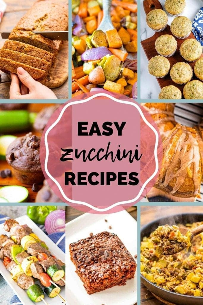 Zucchini Recipes Pinterest image with rectangle pictures of finished recipes and a text overlay in the middle of Easy Zucchini Recipes
