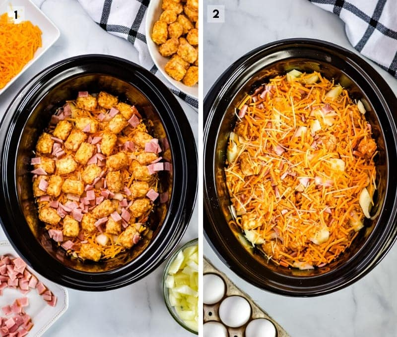 Collage of two photos showing ingredients in crock pot