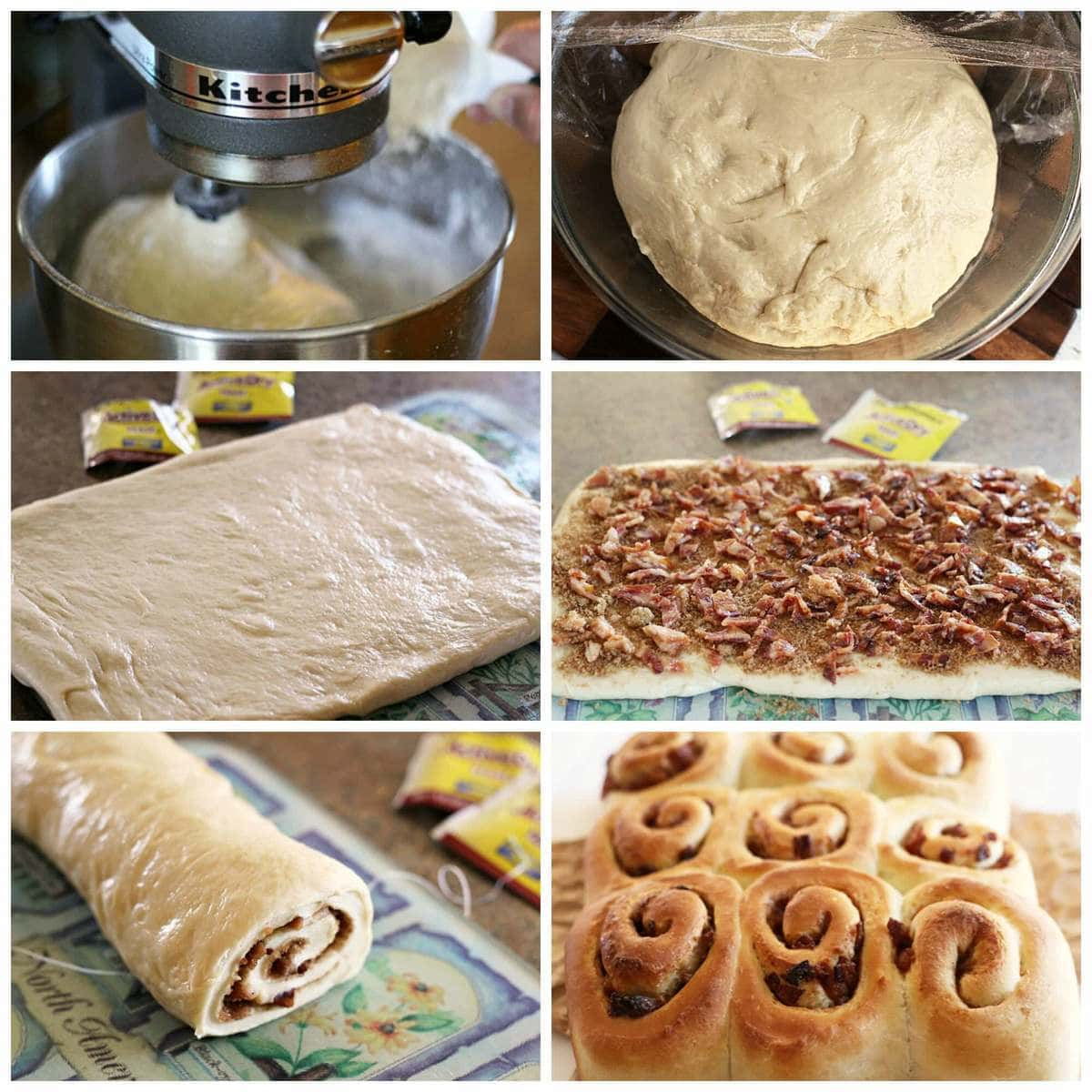 Candied Bacon Cinnamon Rolls Collage