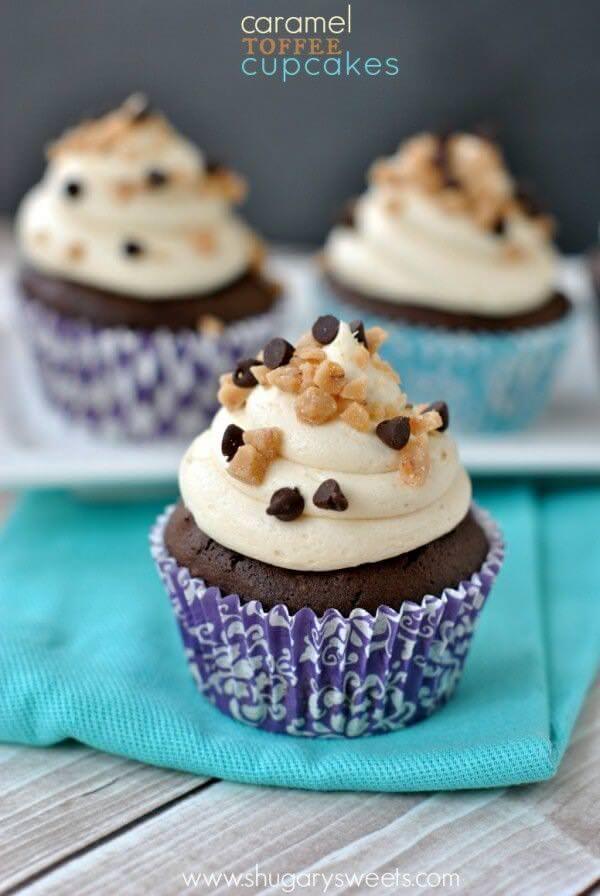 Caramel Toffee Cupcakes