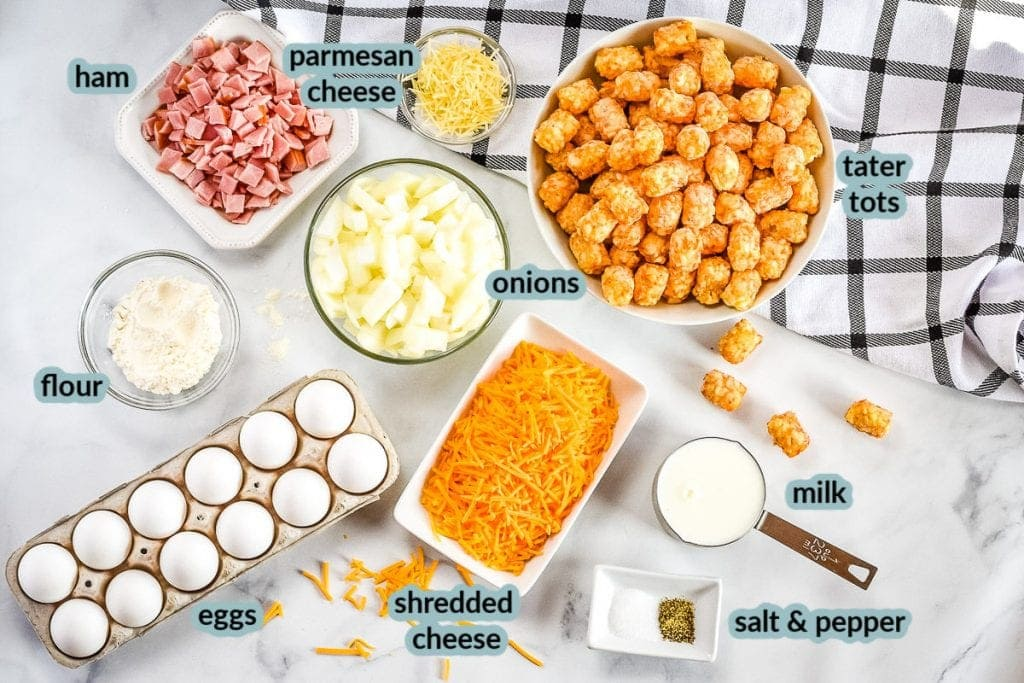 Overhead image of ingredients to make egg bake eggs milk ham onions tater tots cheese and more