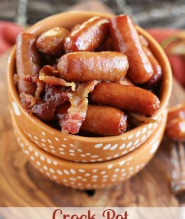 Crock Pot Sweet Bacon Smokies ~ Delicious Smokes Covered in Butter and Brown Sugar and Loaded with Bacon! Perfect Appetizer for Anytime!