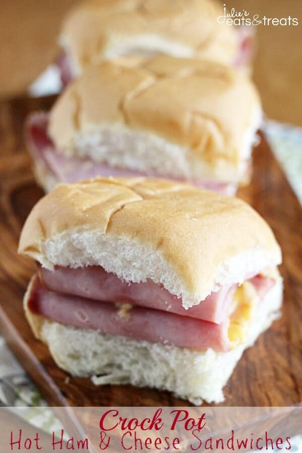 Crock Pot hot Ham Cheese Sandwiches ~ Amazingly Easy Cheese Sauce Smothering Ham in Crock Pot for a Delicious Sandwich!