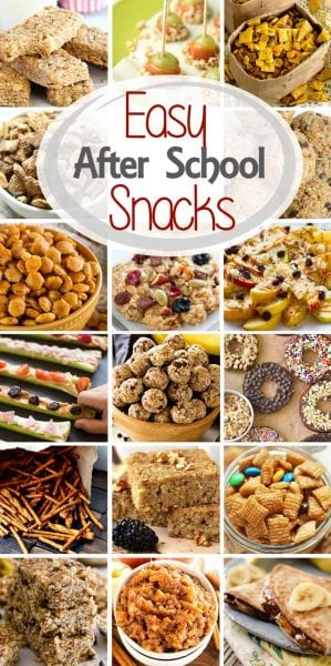 Are you looking for tasty, easy after school snacks that your kids will love? Today I've rounded up after school snack ideas including everything from snack bars and snack mix to popsicles and veggie pizza! You'll have plenty of snacks for after school now!
