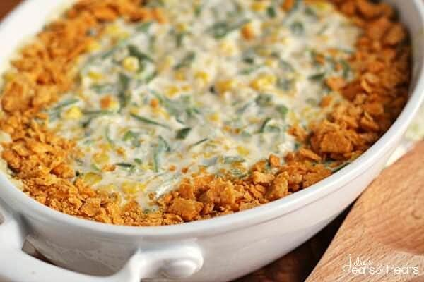 Green Bean Corn Casserole ~ Easy and Delicious Side Dish Loaded with Corn, Green Beans, and Cheese!