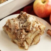 Overnight Caramel Apple French Toast ~ Delicious, Make Ahead Breakfast! French Toast Casserole Loaded with Caramel and Apples!