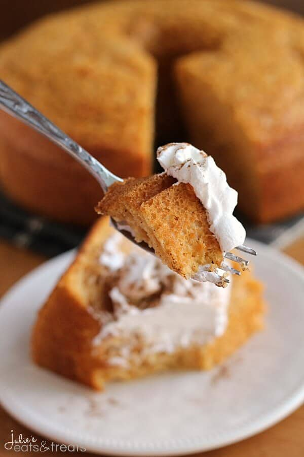 Pumpkin Angel Food Cake Logo ~ Light, Airy Angel Food Cake with a Hint of Pumpkin!