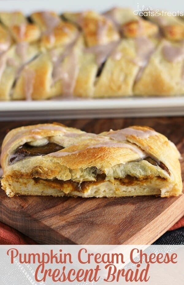Pumpkin Cream Cheese Crescent ~ Flaky Crescent Rolls Braided and Stuffed with Cream Cheese and Pumpkin! Drizzled with Cinnamon Icing!