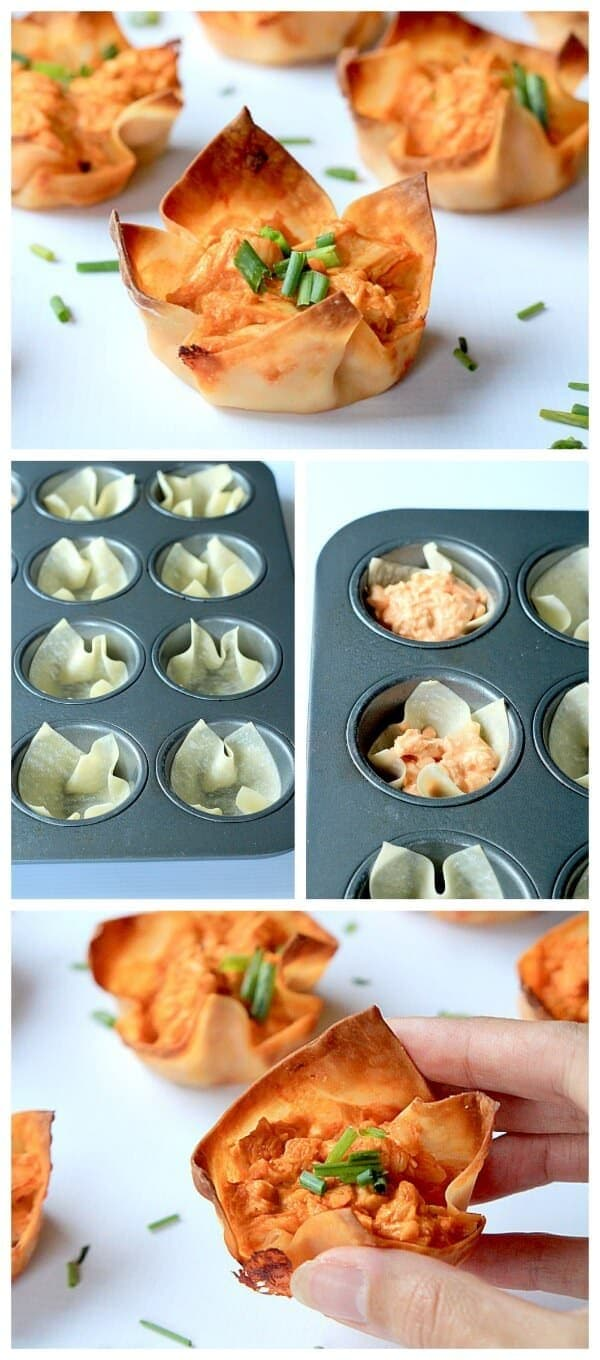 Skinny Buffalo Chicken Wonton Cups_2