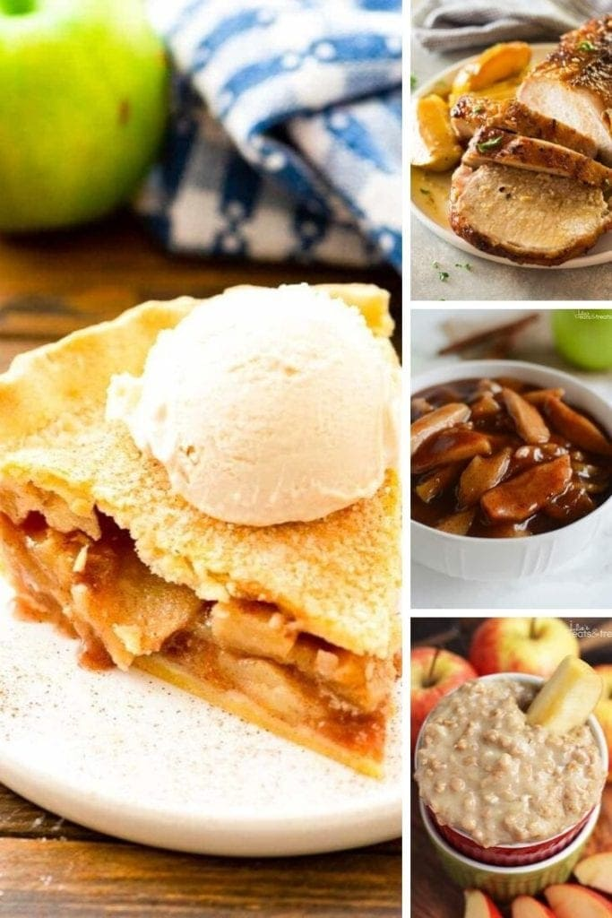 collage graphic of apple recipes
