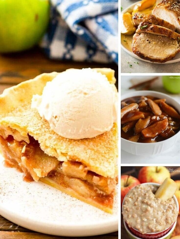 collage with larger left image of apple pie with ice cream on top and smaller right images of apple pork loin, cinnamon apples, and apple oatmeal.