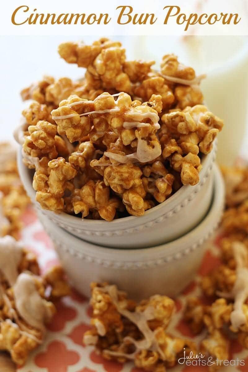 Cinnamon Bun Popcorn ~ Easy, Caramel Corn Spiced with Cinnamon! Perfect Sweet Treat!