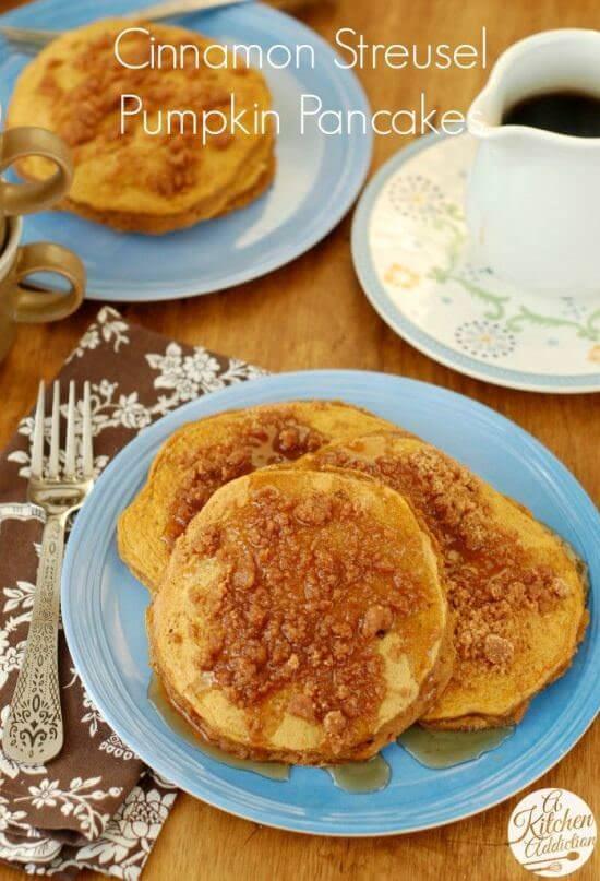 Cinnamon Streusel Pumpkin Pancakes