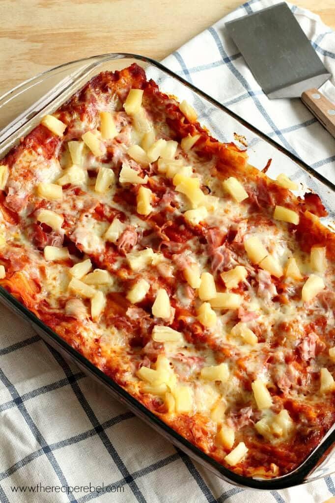 Hawaiian Lasagna -- a super simple and comforting 5 ingredient supper!