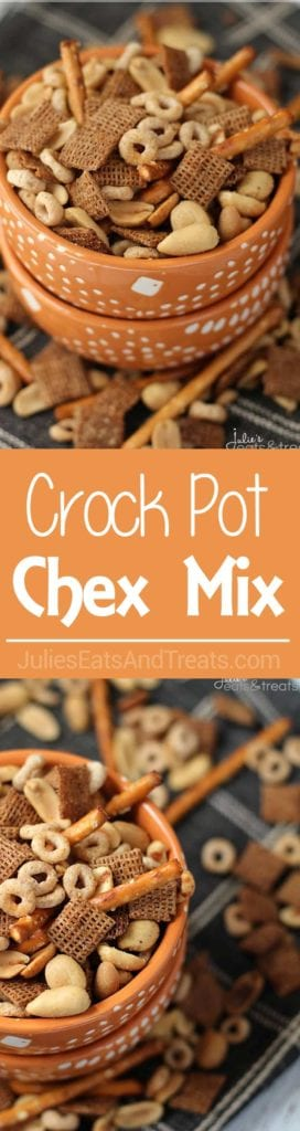 Long collage with two images of chex mix in an orange bowl and a center banner with text reading crock pot chex mix