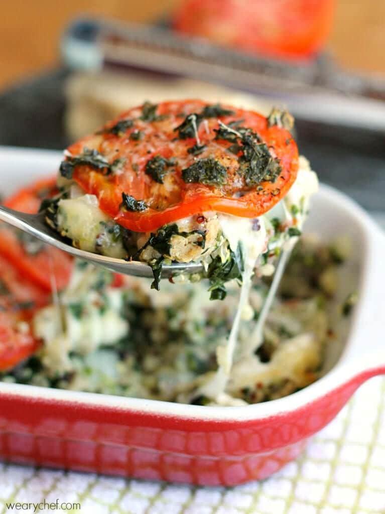Turkey Quinoa Caprese Casserole - wearychef.com