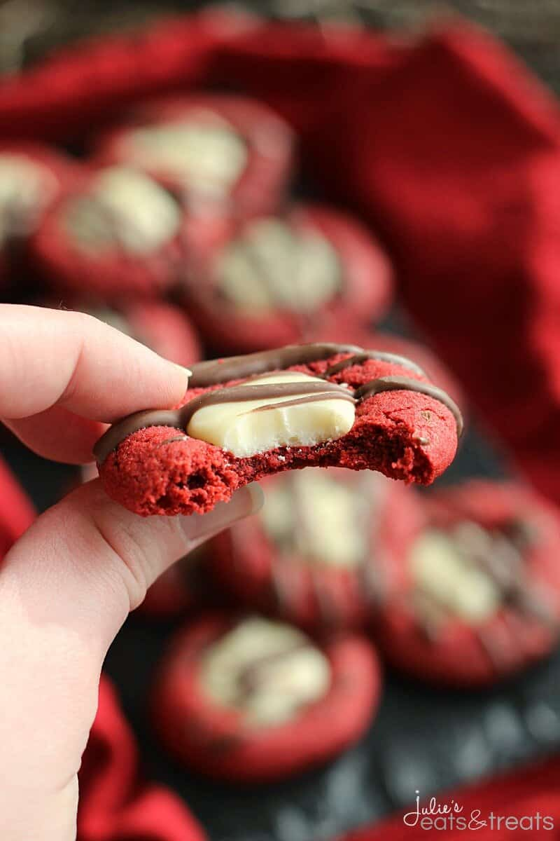 Red Velvet Fudge Thumbprint Cookies ~ Soft, Chewy Red Velvet Cookies Filled with White Chocolate Fudge and Drizzled with Chocolate!