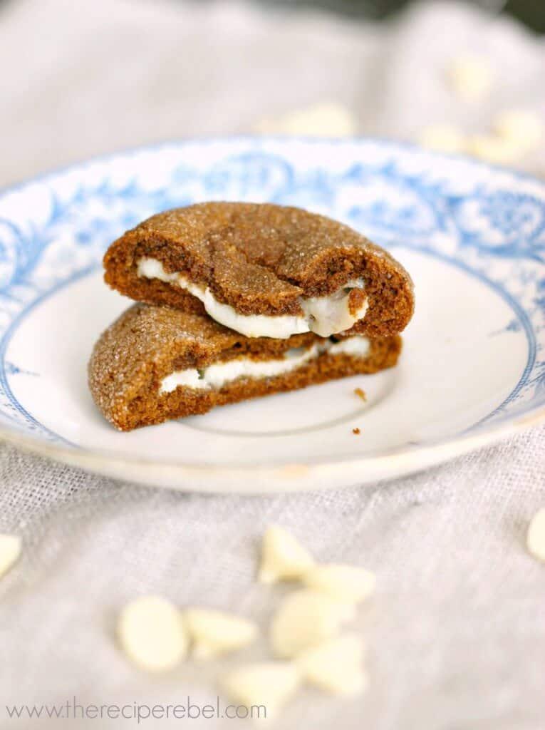 White Chocolate Hazelnut Truffle Stuffed Gingersnaps www.thereciperebel.com