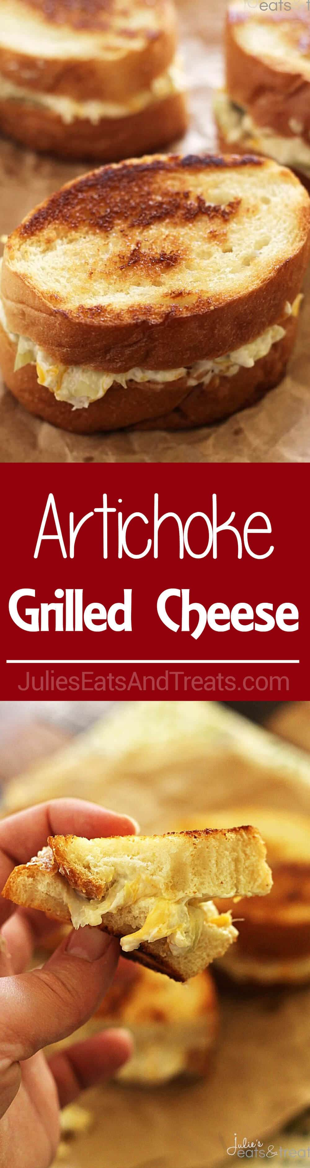 Artichoke Grilled Cheese ~ Delicious Easy Sandwiches Piled High with Cheese and Artichokes!