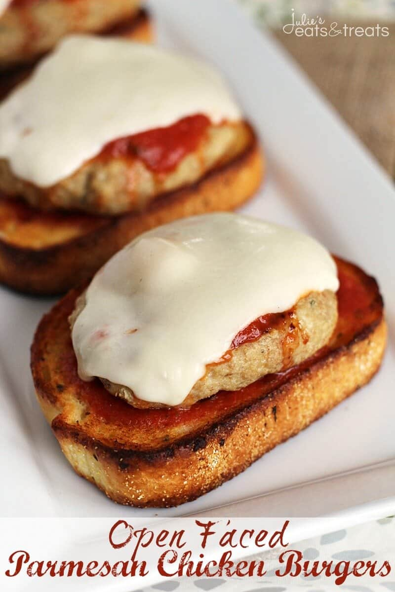 Open Faced Chicken Parmesan Burger ~ Easy, Delicious Parmesan Chicken Burger Piled with Marinara and Cheese on top of Garlic Bread!