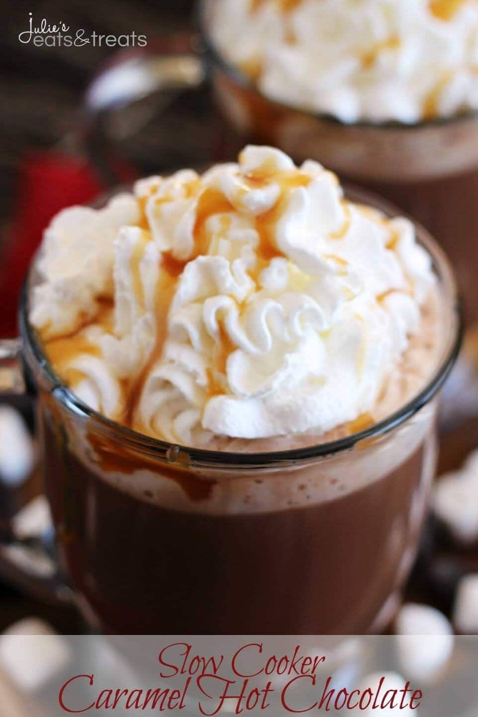Slow Cooker Caramel Hot Chocolate ~ Slow Cooked, Rich, Hot Chocolate Loaded with Caramel and Topped with Whipped Cream and Caramel!