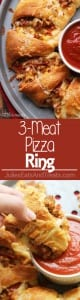 3-Meat Pizza Ring ~ Flaky Crescent Rolls Stuffed with Three Meats and topped with Cheese! The Perfect Quick & Easy Weeknight Dinner or Game Day Treat!