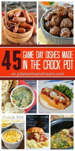 45 Delicious Game Day Recipes that are made in your Crock Pot! Sandwiches, Dips, Meatballs and everything in between!