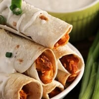 "Buffalo ""Chicken"" Taquitos ~ Crispy Baked Taquitos Dusted in Sea Salt and Stuffed with Buffalo Sauce, Cheese, Green Onions & Vegetarian Chicken that will Fool even the Biggest Meat Eaters!"