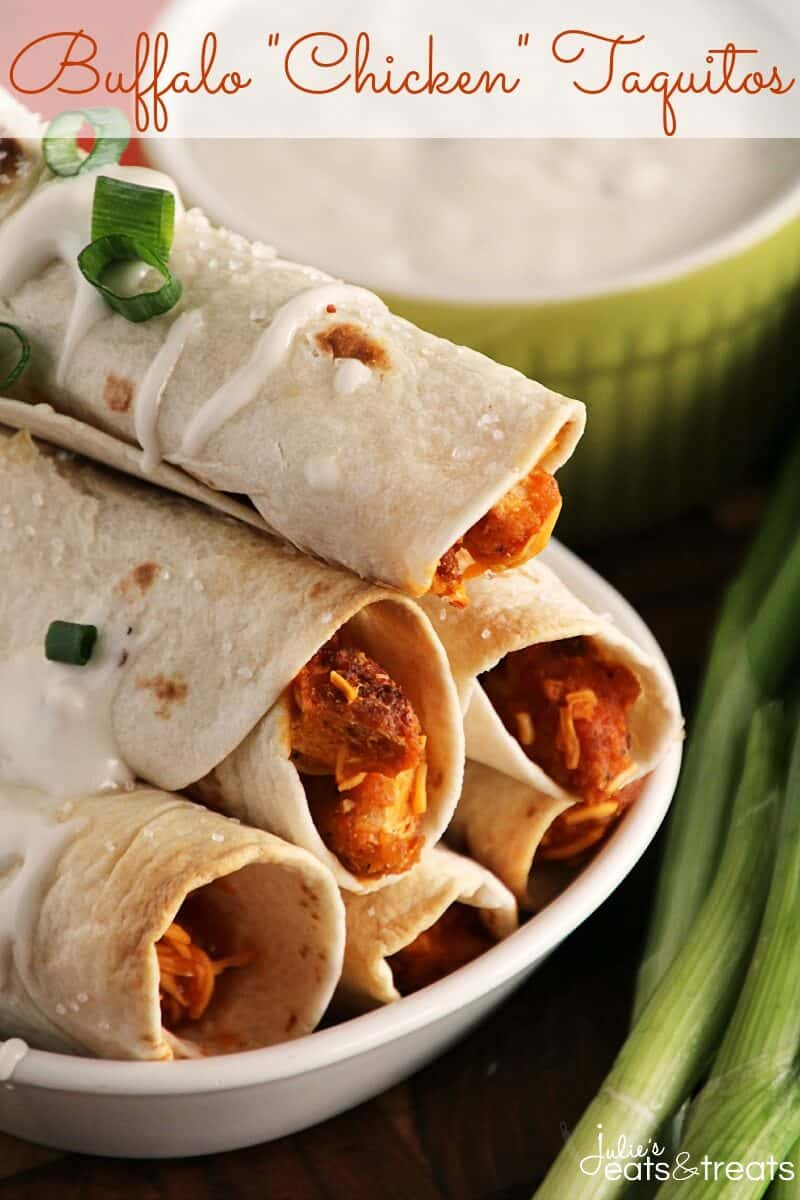 """Buffalo """"Chicken"""" Taquitos ~ Crispy Baked Taquitos Dusted in Sea Salt and Stuffed with Buffalo Sauce, Cheese, Green Onions & Vegetarian Chicken that will Fool even the Biggest Meat Eaters!"""