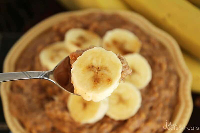 Crock Pot Peanut Butter Banana Oatmeal ~ Easy, Overnight Oatmeal Loaded with Peanut Butter, Bananas, Steel Cut Oatmeal and Flax Seed To Get You Going in the Morning!