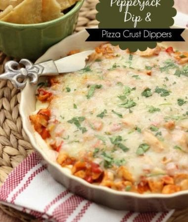 Spicy Pepperjack Dip & Pizza Crust Dippers ~ Delicious, Easy, Cheesy Dip Loaded with Chicken, Salsa, Peppers, Cilantro & Pepper Jack Cheese!